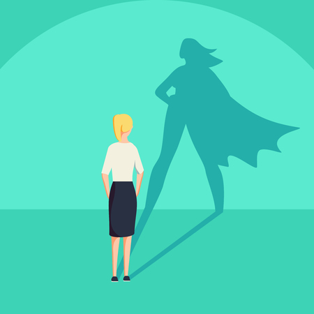 Illustration pour Businesswoman with superhero shadow vector concept. Business symbol of emancipation ambition and success motivation. Leadership or courage and challenge. Eps10 vector illustration. - image libre de droit