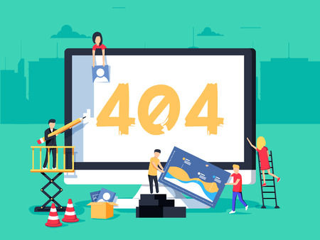 Illustration pour Error 404 page. Builders repair site with crane. Flat vector illustration in cartoon style. Page not found concept illustration of young people using devices to create page. Repairing web - image libre de droit