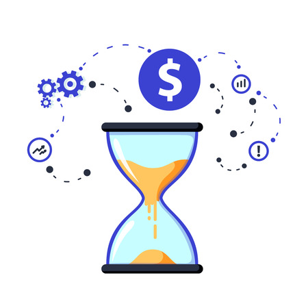 Illustration pour Time is money concept, long term investment and financial future planning. Rension savings fund finance solutions - image libre de droit