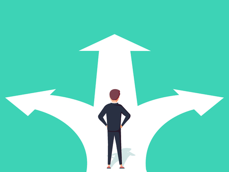 Illustration for Business decision concept vector illustration. Businessman standing on the crossroads with two arrows and directions vector illustration. - Royalty Free Image