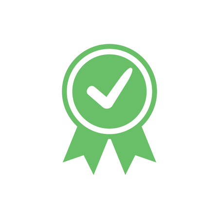 Illustration pour Approved certified icon. Certified seal icon. Accepted accreditation symbol with checkmark. Assurance or authorized award business confirmation green label. Ok quality satisfaction seal stamp vector. - image libre de droit