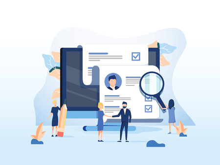 Photo pour Human Resources, Recruitment Concept for web page, banner presentation, social media, documents cards and posters. Vector illustration HR, hiring, application form for employment, Looking for talent - image libre de droit
