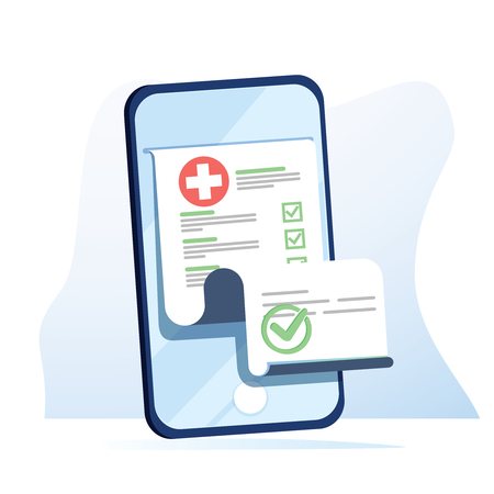 Photo pour Medical form list with results data and approved check mark on mobile phone vector, flat cartoon clinical checklist - image libre de droit