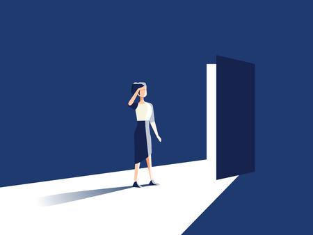 Businesswoman opening door vector concept. Symbol of new career, opportunities, business ventures and challenges. Eps10 vector illustration. Businesswoman femine work. Woman rights. Feminism career