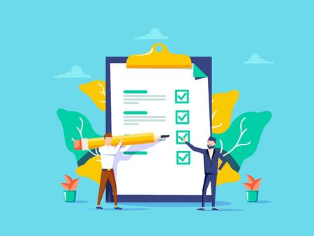 Illustration pour Man showing checklist. Boy filling tasks to checklist. For web site, app banner, ux and ui. Concept for ad poster - image libre de droit