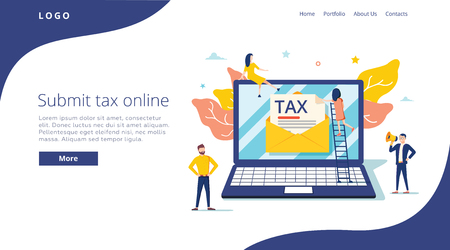 Ilustración de People submit tax by online vector illustration concept, online tax payment and report, can use for, landing page - Imagen libre de derechos