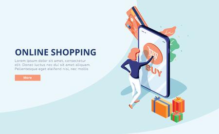 Illustration pour Online shopping concept with character. Sale and consumerism. Young woman shop online using smartphone. Web banner - image libre de droit