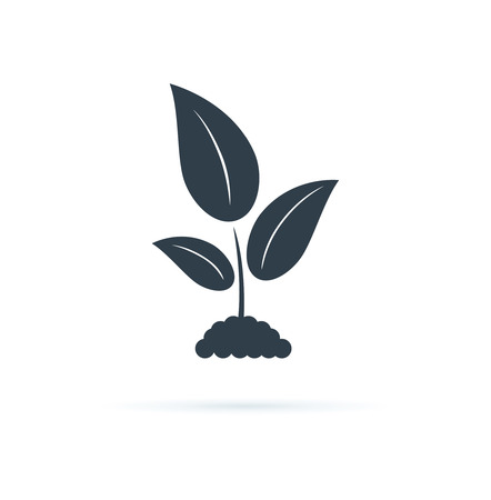 Illustration pour Plant Icon. Vector Icon Illustration. Agriculture symbol, biology cultivation sign, garden plant. Nature leaf symbol for organic concept. Growing seed silhouette. Stem methaphor for new beginnings. - image libre de droit