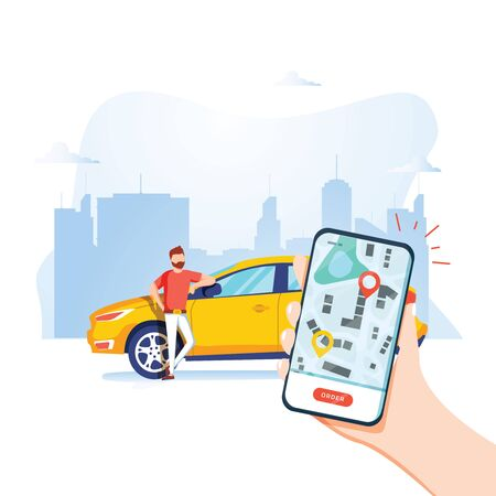 Ilustración de Smart city transportation vector illustration concept, Online car sharing with cartoon character and smartphone. - Imagen libre de derechos