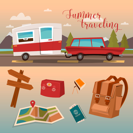 Family Vacation Time. Active Summer Holidays by Camper. Vector illustration
