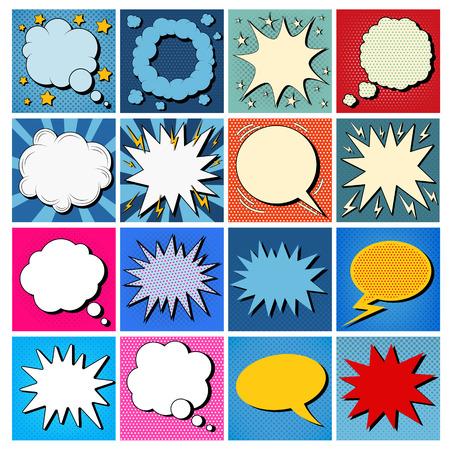 Ilustración de Big Set of Comics Bubbles in Pop Art Style. Vector illustration - Imagen libre de derechos