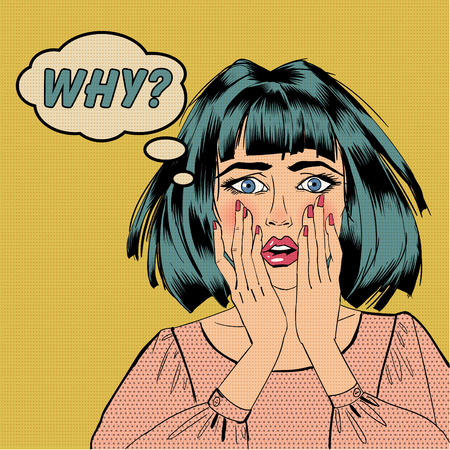 Illustration pour Surprised Shocked Woman with Bubble and Expression Why in Pop Art Style. Vector illustration comics style - image libre de droit
