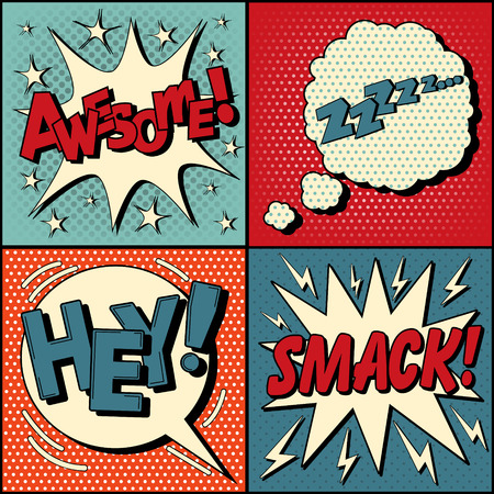 Set of Comics Bubbles in Pop Art Style. Expressions Awesome, Hey, Smack, Zzz. Vector illustration in vintage style