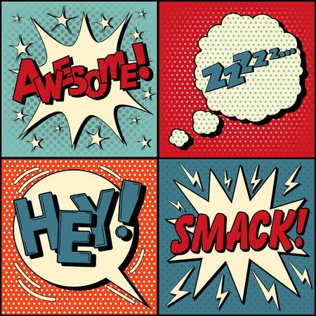 Ilustración de Set of Comics Bubbles in Pop Art Style. Expressions Awesome, Hey, Smack, Zzz. Vector illustration in vintage style - Imagen libre de derechos
