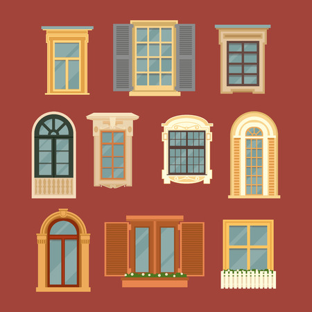 Set of Vintage Windows. Vector illustration in flat style
