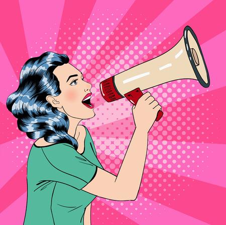 Illustration pour Pop Art Style Woman with Megaphone. Vector illustration - image libre de droit