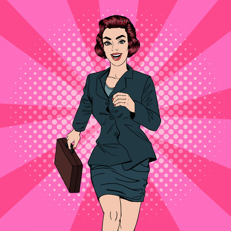 Business Woman. Happy Woman. Woman with Suitcase. Pop Art Banner. Successful Woman. Success in Business. Vector illustration