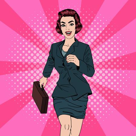 Ilustración de Business Woman. Happy Woman. Woman with Suitcase. Pop Art Banner. Successful Woman. Success in Business. Vector illustration - Imagen libre de derechos