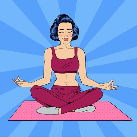 Illustration pour Woman in Yoga Pose. Woman Meditation. Yoga Woman. Lotus Pose. Girl Meditating.  Pop Art Banner. Vector illustration - image libre de droit