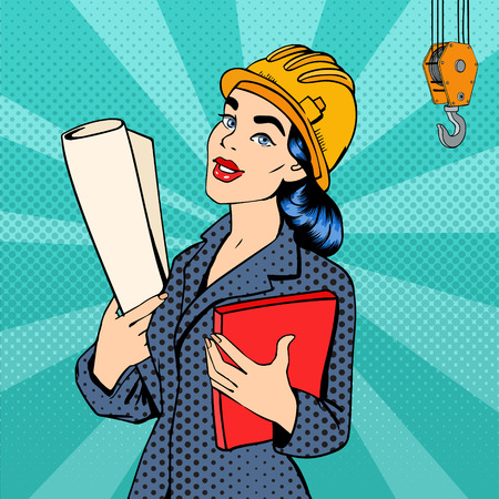 Ilustración de Business Woman. Woman Engineer. Woman in Helmet with Documents. Business Lady. Female Architect. Pop Art Banner. Vector Illustration - Imagen libre de derechos