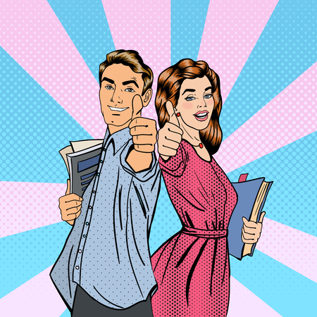 Illustration pour Couple of Students. Man and Woman Gesturing Great. Students with Books. Educational Concept. Pop Art. Vector illustration - image libre de droit