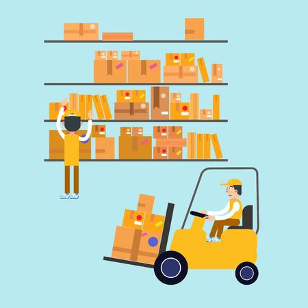Postmen Laid Parcels. Worker on Forklift. Post Office. Postal Storage. Vector illustration