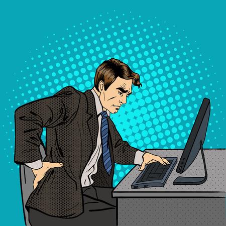 Businessman Suffering from Backache. Businessman at Work. Pop Art. Vector illustration