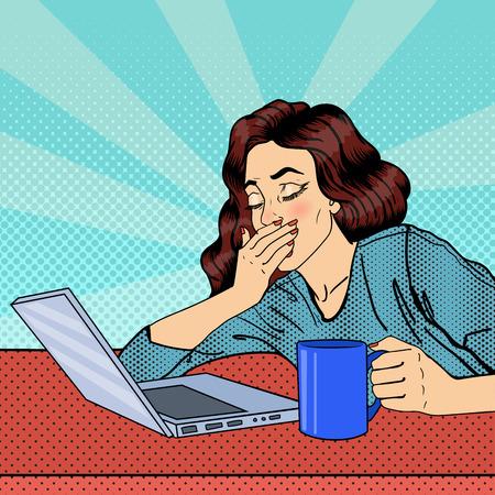 Ilustración de Tired Businesswoman. Exhausted Woman with Laptop. Pop Art. Vector illustration - Imagen libre de derechos