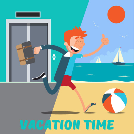 Illustration for Businessman Runs Away from the Office to the Vacation. Vector illustration - Royalty Free Image