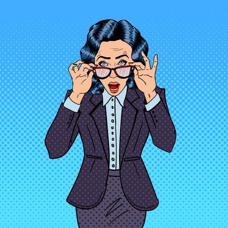 Surprising Business Woman Wearing Eyeglasses. Pop Art. Vector illustration