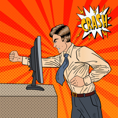 Illustration pour Angry Businessman Crashes Computer in Office with His Fist. Pop Art Vector illustration - image libre de droit