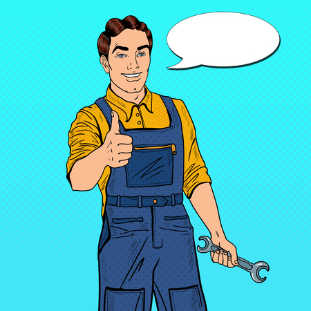 Illustration pour Pop Art Confident Smiling Mechanic with Wrench Thumbs Up. Vector illustration - image libre de droit