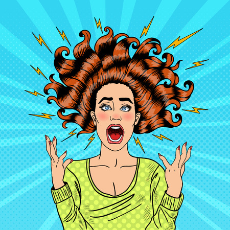 Illustration pour Pop Art Aggressive Furious Screaming Woman with Flying Hair and Flash. Vector illustration - image libre de droit