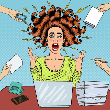 Illustration pour Pop Art Aggressive Furious Screaming Woman with Laptop at Office Work. Vector illustration - image libre de droit