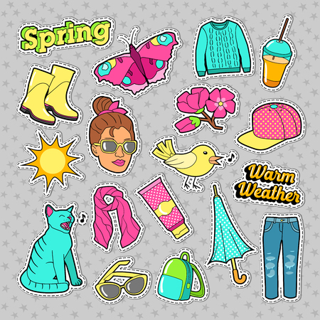 b379366321c7 Spring Woman Fashion with Clothes and Accessories for Badges, Stickers,  Patches. Vector Doodle
