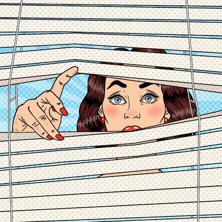 Illustration pour Shocked Woman Looking Through the Blinds. Pop Art Vector retro illustration - image libre de droit