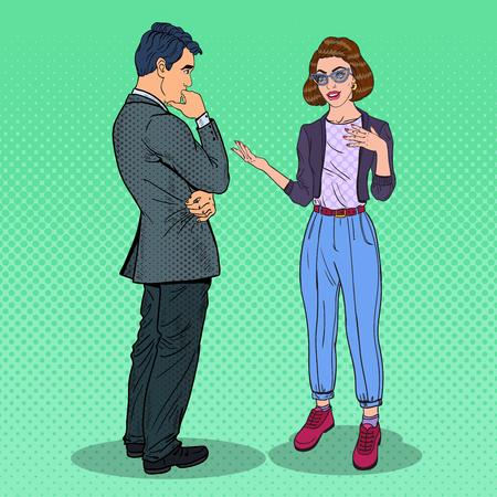 Illustration pour Young Woman Explaining Something to Man. Pop Art vector illustration - image libre de droit