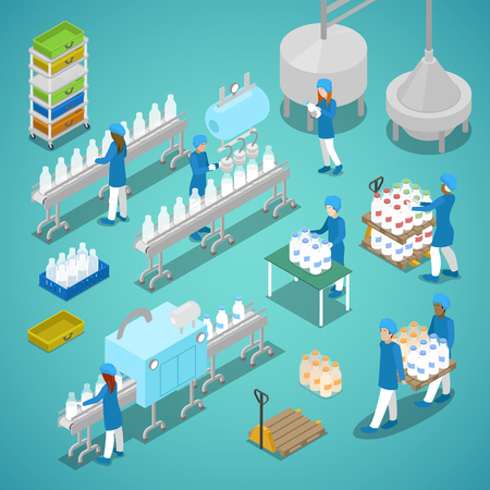 Illustration pour Milk Factory. Automated Production Line in Dairy Plant with Workers. Isometric vector flat 3d illustration - image libre de droit