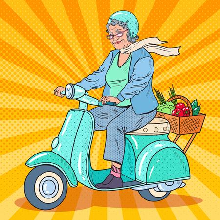 Pop Art Senior Woman Riding Scooter. Lady Biker. Vector illustration