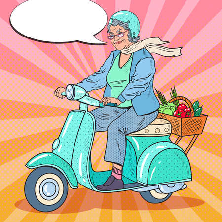 Illustration pour Pop Art Happy Senior Woman Riding Scooter. Lady Biker. Vector illustration - image libre de droit