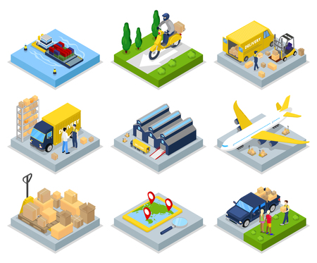 Isometric Delivery Concept  Worldwide Shipping  Warehouse