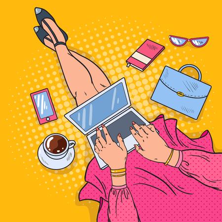 Illustration pour Pop Art Young Woman with Laptop. Work at Home. Vector illustration - image libre de droit