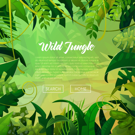 Illustration pour Jungle Banner Tropical Leaves Background. Palm Trees Poster. Vector illustration - image libre de droit