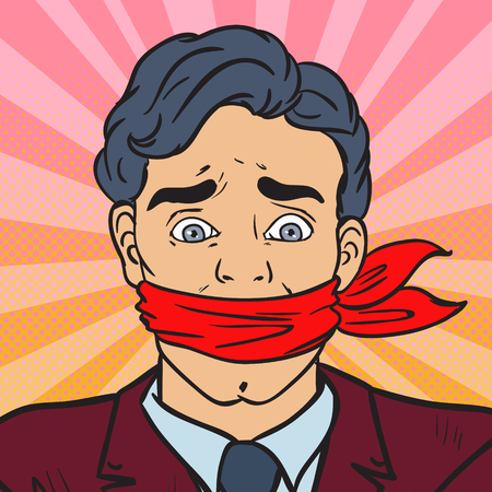 Pop Art Speechless Silenced Businessman. Business Censorship. Vector illustration