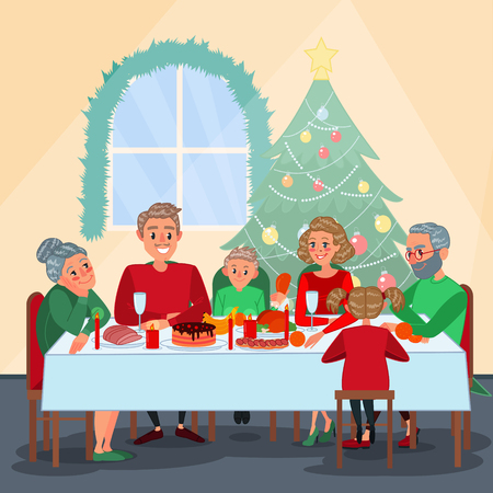 Vektor für Family Christmas Dinner with Grandparents. Family Celebrating New Year. Winter Holidays. Vector illustration - Lizenzfreies Bild