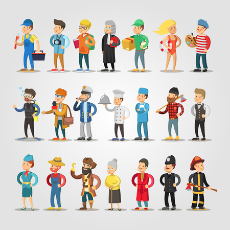 Cartoon People Professions Set with Doctor, Judge, Student, Repairer, Chief, Farmer. Vector illustration