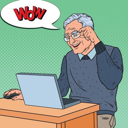 Illustration pour Pop Art Happy Senior Man Working with Laptop. Communication Concept. Vector illustration - image libre de droit