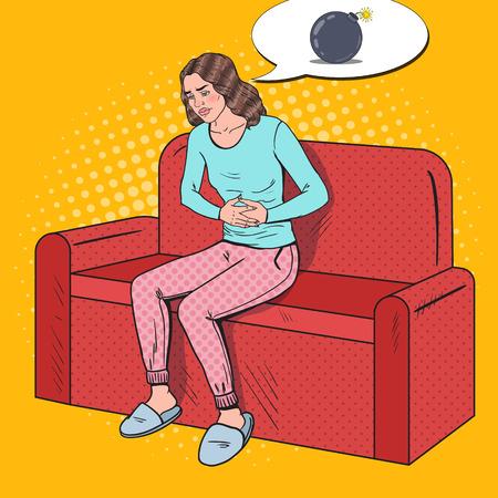 Illustration pour Pop Art Sick Woman Hurts from Stomach Ache. Abdominal Pain. Vector illustration - image libre de droit