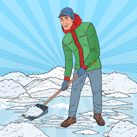 Pop Art Man Clearing Snow with Shovel. Winter Snowfall. Vector illustrationのイラスト素材