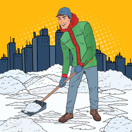 Pop Art Man Clearing Snow with Shovel. Winter Snowfall in the City. Vector illustrationのイラスト素材